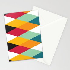 Yellow Orange Red Blue Black Diamond Pattern  Stationery Cards