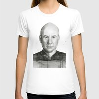 Captain Picard Watercolor Portrait Womens Fitted Tee White SMALL
