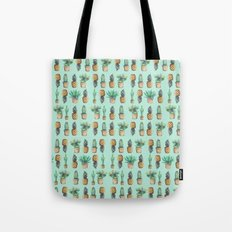 cactus and pineapples blue  Tote Bag