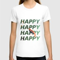 Happy Happy Happy Womens Fitted Tee White SMALL