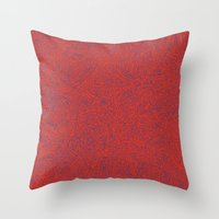 Abstract #002 Cells (Red) Throw Pillow