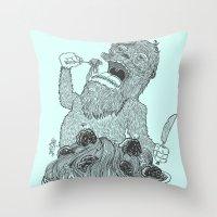 Yeti Spaghetti Throw Pillow