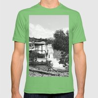 Boats and river in black and white Mens Fitted Tee Grass SMALL