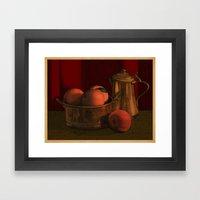 Still life with peaches Framed Art Print