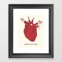 Hearts Are Gross Framed Art Print