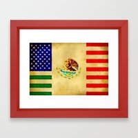 MEXICAN AMERICAN FLAG - … Framed Art Print