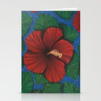 Tropical Hibiscus in Red island art painting Stationery Cards