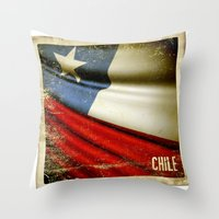 Chile grunge sticker flag Throw Pillow