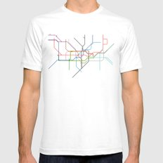 London tube SMALL Mens Fitted Tee White