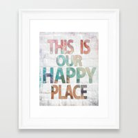 This Is Our Happy Place - Water color distressed background word art Framed Art Print