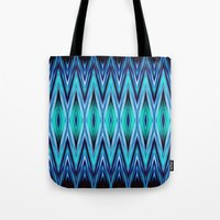 Abstract Blue Teal Zigzags Tote Bag