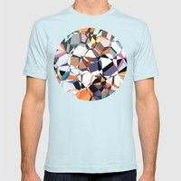 Abstract Geometric Chaos Mens Fitted Tee Light Blue SMALL