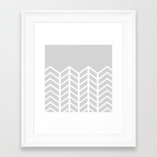 LACE CHEVRON (GRAY) Framed Art Print