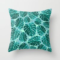 Tropical Leaf Monstera Pattern  Throw Pillow