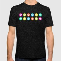 Colorful Hearts  Mens Fitted Tee Tri-Black SMALL
