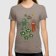 Robot Invasion! Womens Fitted Tee Tri-Coffee SMALL
