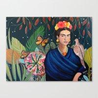 Frida et sa nature vivante Canvas Print
