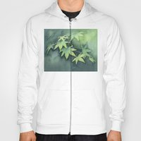 Japanese Maple Watercolor, Green Leaves, Tree Branch Hoody
