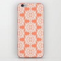 Behind Damask - Peach iPhone & iPod Skin