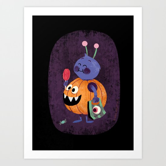 Sunday's Society6 | Halloween candy pumpkin art print