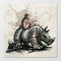 The Girl And The Rhino Canvas Print