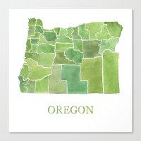 Oregon Counties Watercol… Canvas Print