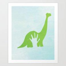 handprint with a dinosaur Art Print