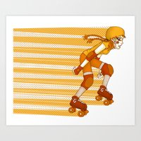 Roller Derby Skater By R… Art Print