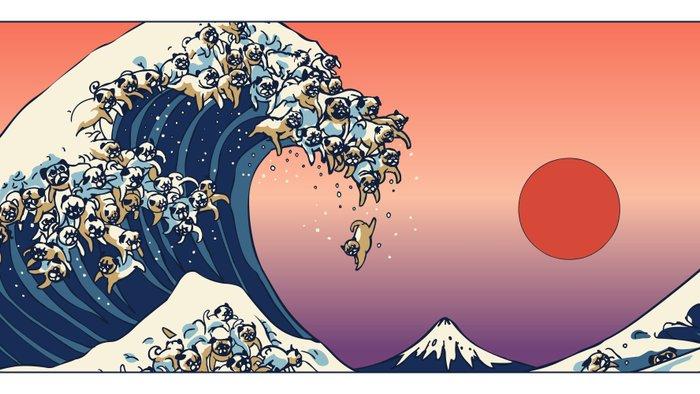 The Great Wave Of Pug Mug By Huebucket Society6