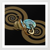 Abalone with Historic Maori Fishing Hooks Art Print