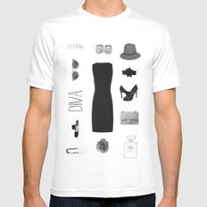 DIVA White Mens Fitted Tee SMALL