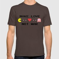 Make Love Not War Mens Fitted Tee Brown SMALL