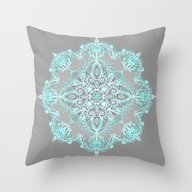 Teal And Aqua Lace Manda… Throw Pillow