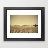 Lonely Field In Brown Framed Art Print