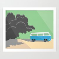 Dharma Van vs Smoke Monster Art Print