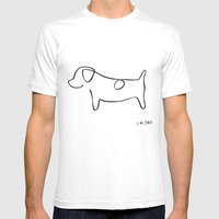 Abstract Jack Russell Terrier Dog Line Drawing Mens Fitted Tee White SMALL