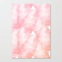 Banana Leaves Pink Canvas Print