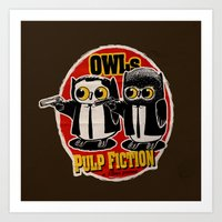 Owls Pulp Fiction Art Print