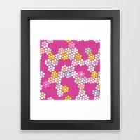 Flower tiles in hot pink Framed Art Print