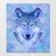 Colorful watercolor wolf Canvas Print