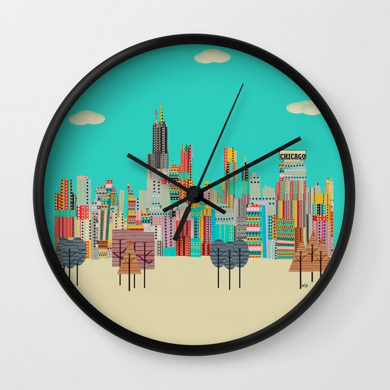 Chicago city (summer days) Wall Clock