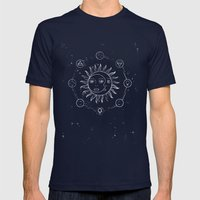 Moon, sun and elements Mens Fitted Tee Navy SMALL