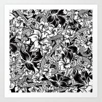 Snaky Fleur, Black 'n Wh… Art Print