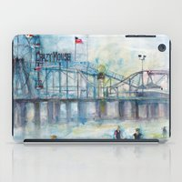 Altantic City, New Jersey - Roller Coaster - Ferris Wheel - Watercolor Painting iPad Case