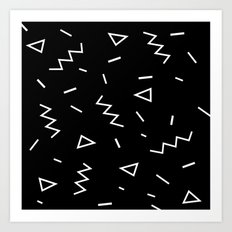Inverted Black and White Zig Zag Print Art Print