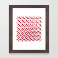 Red stars on white background illustration Framed Art Print