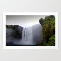 Skogafoss Waterfall, Ice… Art Print