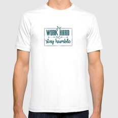 Quote - Work hard Stay Humble - Flower SMALL Mens Fitted Tee White