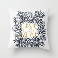 Throw Pillow featuring C'est La Vie – Grey & … by Cat Coquillette