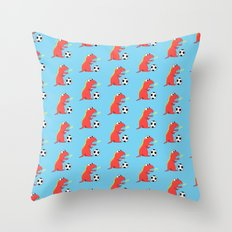 Blue Cartoon Dinosaur Soccer Pattern Throw Pillow